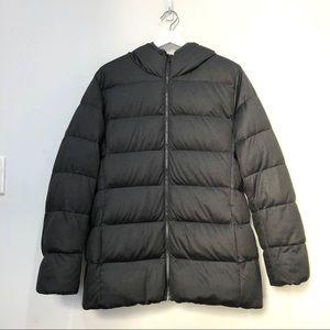 Uniqlo dark grey heather down jacket Sz xl hooded